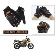 AutoStark Gloves KTM Bike Riding Gloves Orange and Black Riding Gloves Free Size For Honda Dazzler