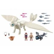 Playmobil - Light Fury Pui De Dragon Si Copii How to train your dragon