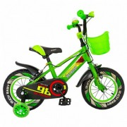 """Bicicleta Copii Rich Baby R1207A, Roti 12"""", C-Brake, cosulet, roti ajutatoare cu LED (Verde/Alb)"""