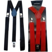 Winsome Deal Y- Back Suspenders for Men(Black, Red)
