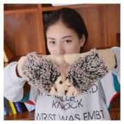 Invierno Adorable Cartoon Mouse Tejer Lady Guantes Calientes Cartoon Hedgepig Full Finger Gloves (albaricoque)