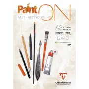 Clairfontaine Paint'On glued pad A3 40sh 250g white