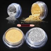 2 Psc Nail Glitter Powder Magic Mirror Chrome Nail Art Decoration With Free Nail Brush - Gold Silver