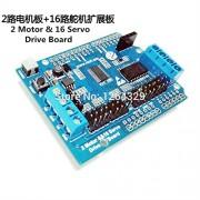 Generic 2CH motor & 16CH Servo Expansion Board, sensor extension board, servo control board for robot arm/claw, robotic parts