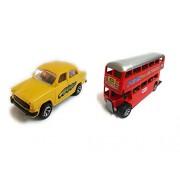 Varshas Yellow Ambassador & Double Decker Bus Toy Car - Small, Set Of 2