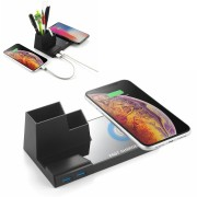 N35 10W Wireless Charger Pen Holder Charging Stand Qi Fast Charging Chargers with Dual USB Output (Not Support FOD Function) - Black
