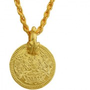 MissMister Gold Plated Lakshmi Laxmi Coin Reversible Both Side Wearable Light Weight (7.5gm) Real Gold Look Chain Pendant Necklace Temple Jewellery for Men and Women