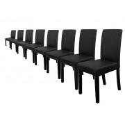 [en.casa]® 8 x sillas tapizadas (negro) (alta calidad) con patas de madera maciza / piel sintética / elegante / Set ahorro