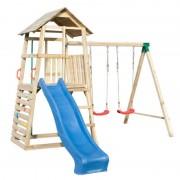 Steiner Shopping (ZA) Spielturm mit Rutsche und Doppelschaukel, Kletterwand und Rutschstange