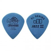 Dunlop 498P Tortex Jazz III XL Picks, 1mm, Blue, 12 Pack