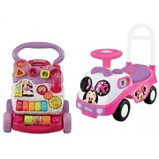 Disney Kiddieland Disney Minnie Mouse Ride-On Toy and VTech Sit-to-Stand Learning Walker Pink