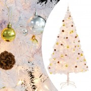 vidaXL Изкуствена елха, украсена с играчки и LED лампи, 210 см, бяла