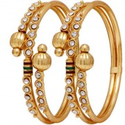 Penny Jewels Party Wear Luxurious Gorgeous Gold Plated Fashionable Golden Bangles Set For Women Girls (Pack Of 2)