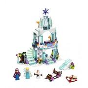 BestBuyToy Big Size Frozen Elsa's Sparkling Ice Castle Adventure Doll House Building Block 299 pcs Lego Style Set Action Figures for Kids