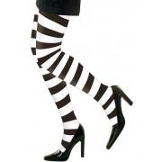 Collants as riscas pretas e brancas para adulto - Taille: XL