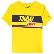 Tommy Hilfiger Yellow Sporty Block Panel Branded Tee 8 years