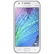 "Telefon Mobil Samsung Galaxy J1 Ace, Procesor Dual-Core 1.3GHz, Super AMOLED capacitive touchscreen 4.3"", 512MB RAM, 4GB Flash, 5MP, Wi-Fi, 3G, Dual Sim, Android (Alb) + Cartela SIM Orange PrePay, 6 euro credit, 4 GB internet 4G, 2,000 minute nationale si"