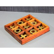 "Stonkraft Wooden Crosses Tic Tac Toe Board Games for Kids - Brain Teaser Tic Tac Toe Wooden Game (5"")"