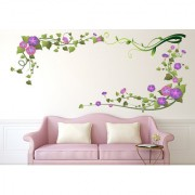 Wall Stickers Morning Glory Pink and Purple Flowers Vine with Leaves for Living Room Decoration Vinyl