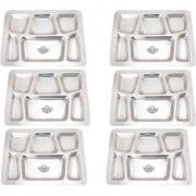 Taluka (15.7 x 11.9 in approx) Pure Stainless Steel 6 in 1 Compartment Plate Thali Bhojan Thali Steel Plate Set OF 6