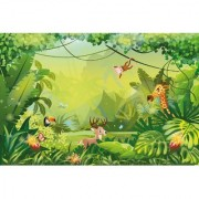 Walls and Murals Colorful Jungle Wallpaper for Kids Play Area Peel and Stick Wallpaper in Different Sizes (24 x 36)