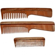 PACK OF 3 NEEM WOOD COMB(WIDE FINE TOOTH DETANGLER WITH HANDLE 7.5 INCH) POCKET COMB(4 INCH)