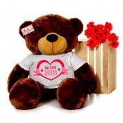 4 feet big brown teddy bear wearing Awesome Mom T-shirt