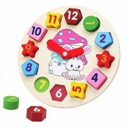 Little Star Wooden Blocks Toys Digital Geometry Clock Childrens Educational Toy For Baby Boy And Girl Gift