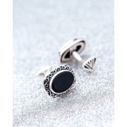 Dare by Voylla Oval Black Stone Milestone Cufflinks