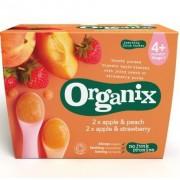 Organix piure din fructe ecologice mere cu capsuni si mere cu piersici de la 4 luni, 2 x 2 x 100 g