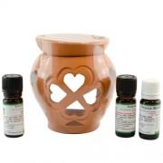 Candelă de aromaterapie și 3 sticluțe de ulei de parfum 10ml: Iasmin, Liliac și Zmeură