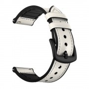 For Samsung Galaxy Watch Silicone Cowhide Leather GW-Titanium Silver 22mm Watch Band - White