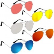 shah collections Aviator Sunglasses(Red, Yellow, Silver, Pink, Blue)