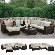 Luxus Poly-Rattan Sofa-Garnitur Melilla, Lounge-Set Gartengarnitur, Alu-Gestell ~ Variantenangebot
