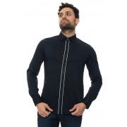 Giorgio Armani Camicia cotone manica lunga Blu Cotone Uomo