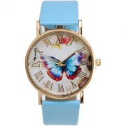 North Moon Butterfly Printed Sky Blue Leather Analog Watch - ALW061