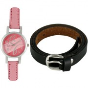 Crude Smart Combo of Analog Watch-rg165 With Leather Belt for - Women's Girl's