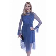 Rochie de ocazie cu dantela albastra