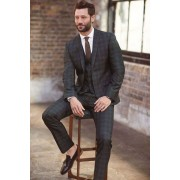 Mens Next Blue Slim Fit Check Suit: Trouser - Blue Trousers