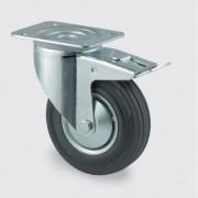 TENTE Transportrolle mit bedeckung, 200 mm, drehbar mit bremse, schwarzer