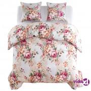vidaXL Trodijelni set posteljine cvjetnog uzorka 200 x 200 / 80 x 80 cm šareni