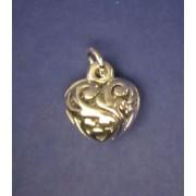 Male trojrozmerne zdobene srdce - privesek ze stribra