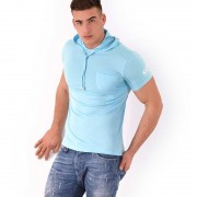 Roberto Lucca CC7 Slim Fit Hooded Short Sleeved Sweater Turquoise 70243-02126