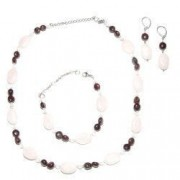 Set bijuterii GANELLI pietre semipretioase Granat Cuart roz - colier bratara cercei