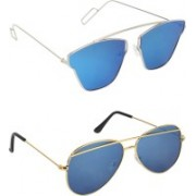 Pogo Fashion Club Retro Square, Aviator, Cat-eye Sunglasses(Blue)