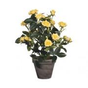 Floare artificiala, trandafir in ghiveci, galben