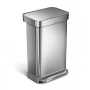 Pedálos szemetes beépített zsáktartóval, ezüst színű, 45 l, CW2024