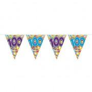 Geen 1x Mini vlaggenlijn / slinger verjaardag versiering 100 jaar