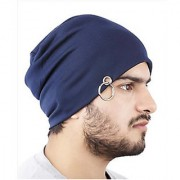 Beanie Men Beanie Baggy Slouchy cap hat with Ring thin winter/fall Hat (Color Blue)