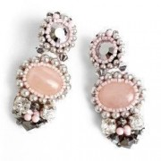 Cercei handmade cristale si perle Swarovski cuart Argintiu Roz